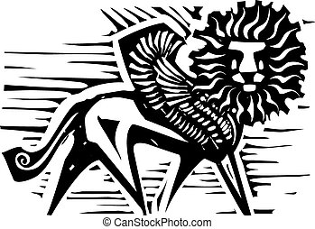 Winged Lion - Woodcut style image of Persian mythological...