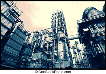 oil and gas refinery in vintage instagram effects