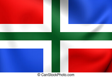 Flag of Groningen Province, Netherlands. Close Up.