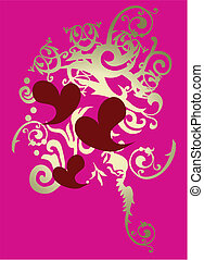 foil scroll heart pattern