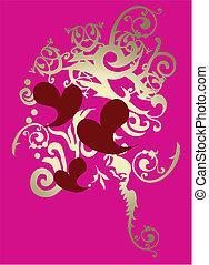 foil scroll heart pattern
