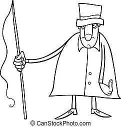 coachman character coloring page - Black and White Cartoon...