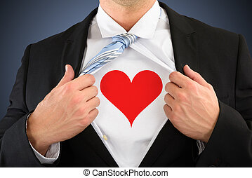 Businessman Pulling His Shirt Showing Heart Shape Symbol -...