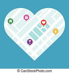 City map in heart shape