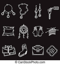 White line vector icons for handmade items - Set of white...