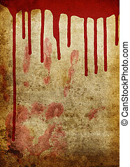 Halloween old bloody paper - Old paper with blood spill and...