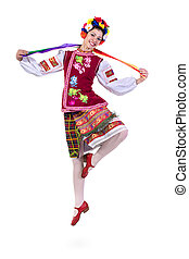 beautiful dancing girl in ukrainian polish national...