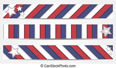 Collection of 3 striped banners in
