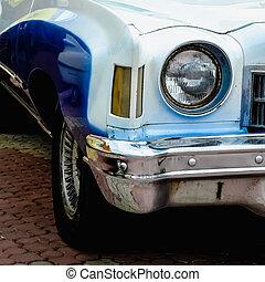 Old retro or vintage car front side - Old retro or vintage...