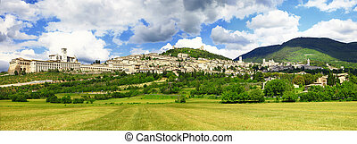 medieval town of Assisi, Umbria , Italy - panorama of...