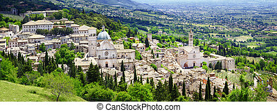 panorama of Assisi, Umbria, Italy - religious center of...