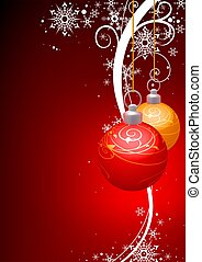 Christmas Balls with winter floral - background illustration