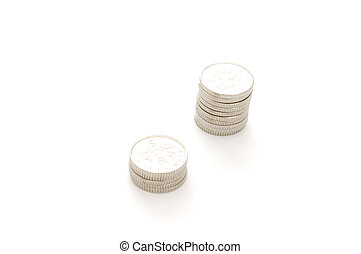 StillLife-12-0008 - Stacks of coins isolated on a white...