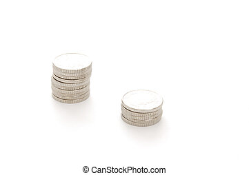 StilolLife-12-0010 - Stacks of coins isolated on a white...