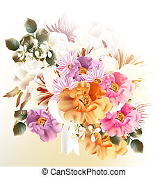 Beautiful bouquet of flowers for design - Vector cute flower...