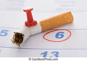 Pushpin Attached To Broken Cigarette - Broken Cigarette With...