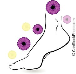 Woman barefoot logo - Woman barefoot with flowers icon...