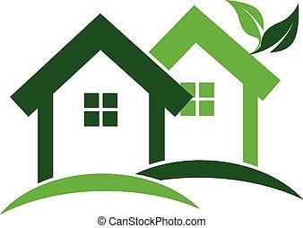 verde, Casas, verdadero, propiedad, logotipo,