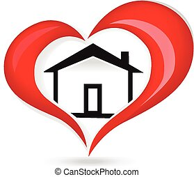 House love heart logo - House and red glowing heart icon...