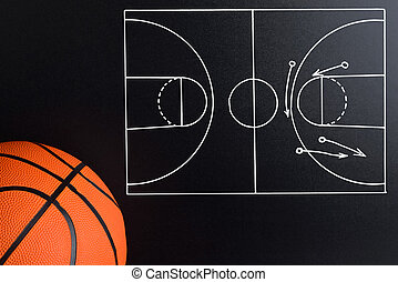 Basketball Play Strategy Drawn Out On A Chalk Board With...
