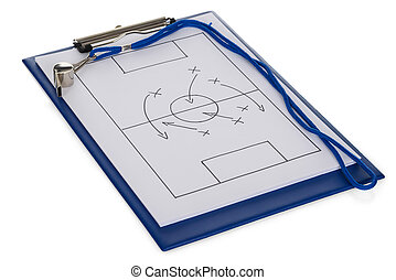 Whistle And Soccer Tactic Diagram On Paper Isolated Over...