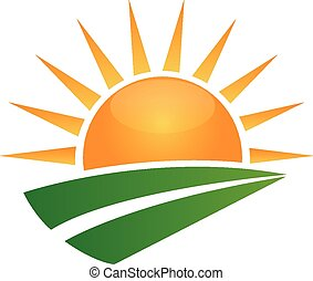 Sun and green road logo - Sun and green road swoosh vector...