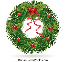 Christmas wreath with red ribbon logo vector background...