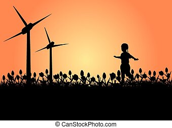 Child and Windmills
