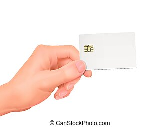 3d hand holding a blank chip card