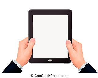 business concept: 3d hands holding a tablet
