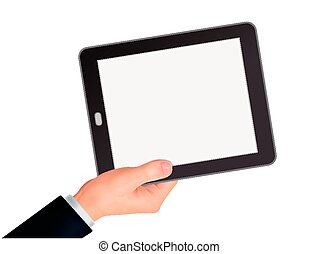 business concept: 3d hand holding a tablet