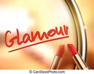 glamour word written by red lipstick