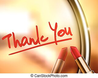 thank you words written by red lipstick on glossy mirror