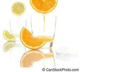 vitamin c orange aspirin tablet - vitamin c concept orange...
