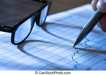 Graph With Pen And Glasses