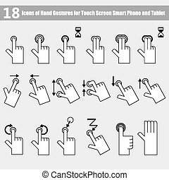 18 Icons of hand gestures for smart phone