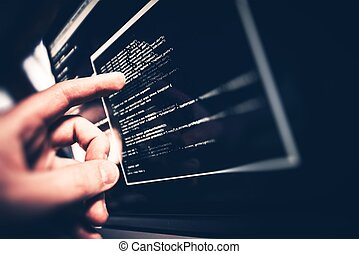 Working Programmer. Programmer Showing Code Issue on the...