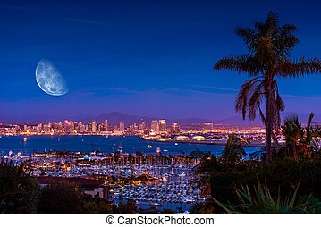 San Diego Night with Moon - San Diego Night with Large Moon...