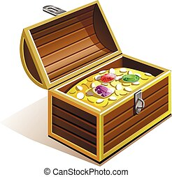 chest of gold - pirate chest with gold coins , diamonds,...