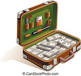 suitcase with money - case with a lot of money , weapons,...