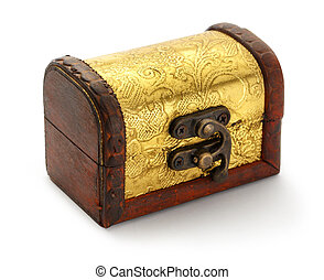 Treasure chest - Golden treasure chest trunk on white...