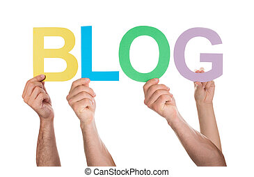 People Holding The Word Blog - Group Of People Holding The...