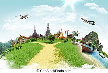 mundo, viaje, concepto, monumento