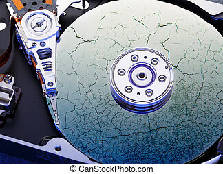 Hard drive computer disk inside in closeup