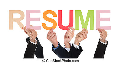 Group Of Hands Holding The Word Resume - Group Of...