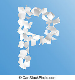 letter P composed by paper on blue background.