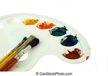 painting palette - painting brushes and palette on white...