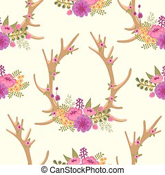 Vintage seamless pattern with deer antlers and flowers....