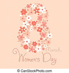 Card Womens Day on March 8 Vector illustration