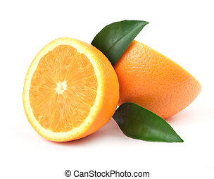 Orange with green leaf - Beautiful juice issolated orange on...